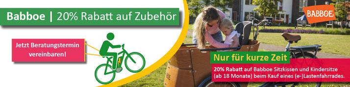 Babboe Aktion 20 Prozent Rabatt auf Sitzkissen und Kindersitze