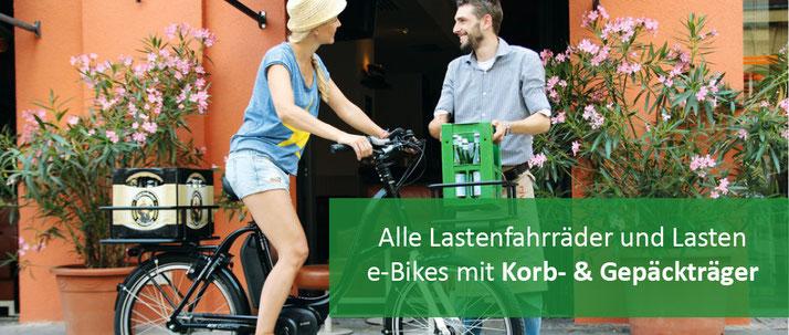 Lastenfahrräder mit Korb und Gepäckträger