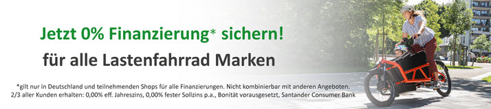 0%-Finanzierung für e-Lastenfahrräder, Pedelecs und Elektrofahrräder bei den e-motion e-Bike Experten in Köln