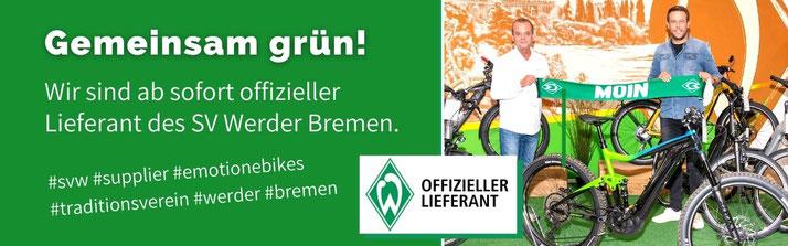 Gemeinsam grün - Lastenfahrrad-Zentrum Bremen ist offizieller SV Werder Bremen Lieferant