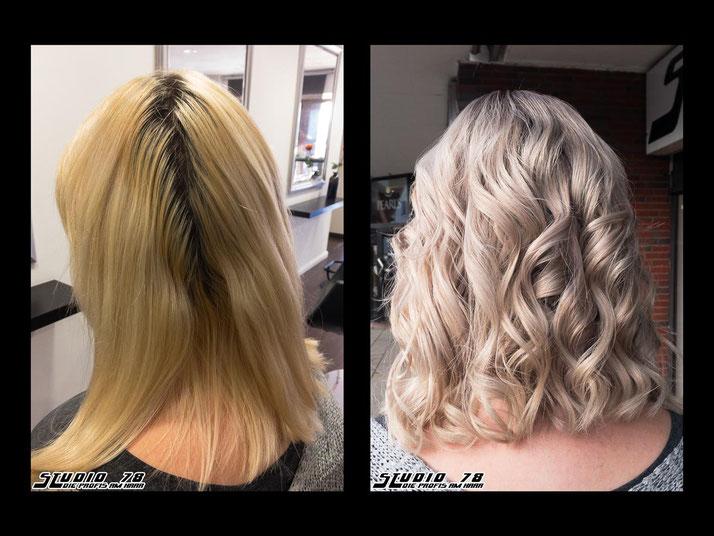 Coloration Haarfarbe Blond weiß weißblond white platinblond platin vorher nachher ash aschblond asch wellaplex