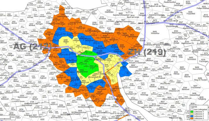 Zonenplan für den e-Bike Abholservice Dietikon