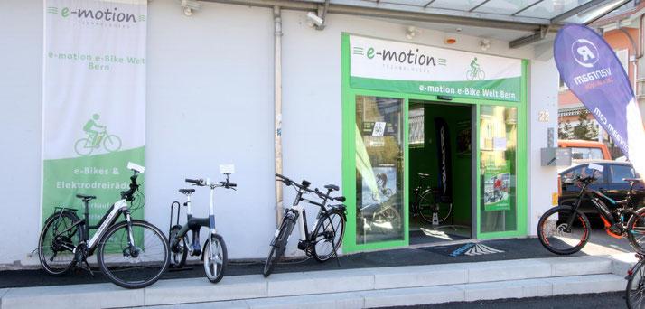 Im Shop in Bern können Sie sich viele verschiedene City e-Bikes ansehen