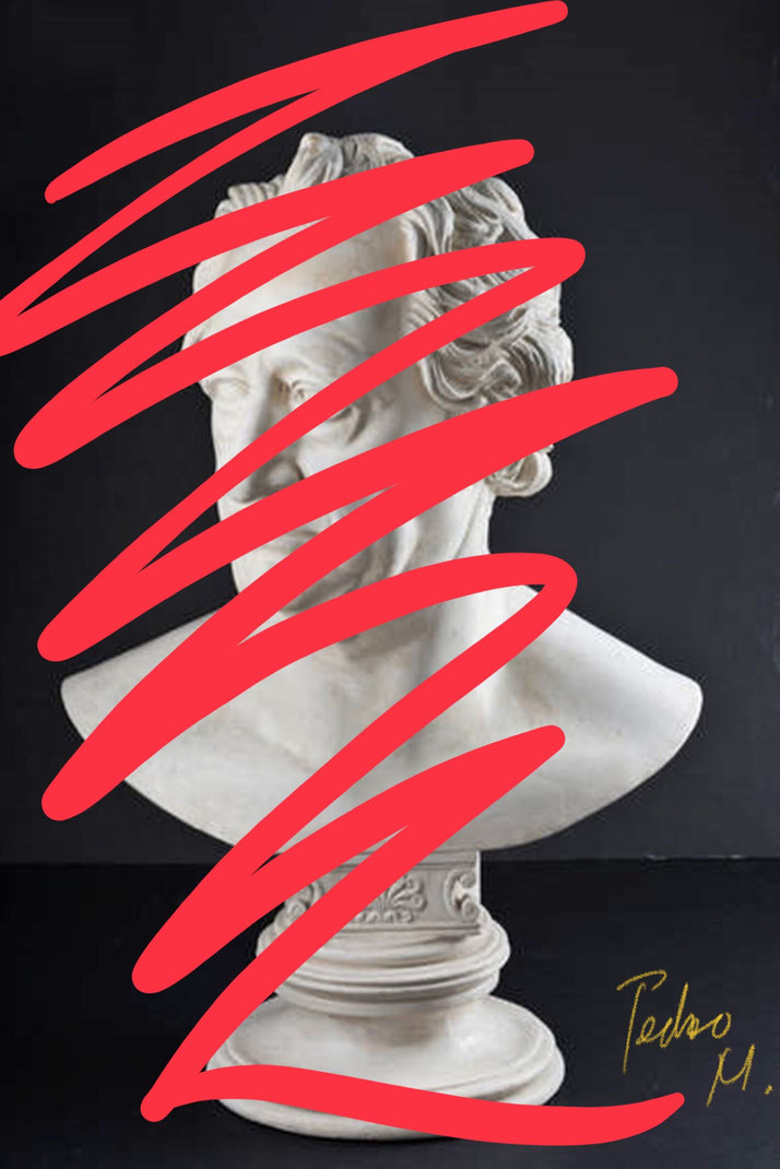 Pedro Meier – Johann Wolfgang Goethe, Büste / Statue Weimar – »Intervention in ROT« / Paraphrase – Artwork by Pedro Meier Multimedia Artist 2018 – DiaryArt – MailArt – DigitalArt – Artists' Books Künstlerbuch – Bangkok MoMA – FLUXUS DADA, SIKART Zürich