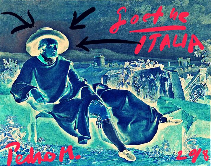Pedro Meier – Goethe in der Campagna – Johann Heinrich W. Tischbein 1787 – Intervention / Paraphrase – Artwork by Pedro Meier Multimedia Artist 2018 – DiaryArt – MailArt – DigitalArt – Artists' Books Künstlerbuch– Bangkok MoMA – FLUXUS DADA, SIKART Zürich