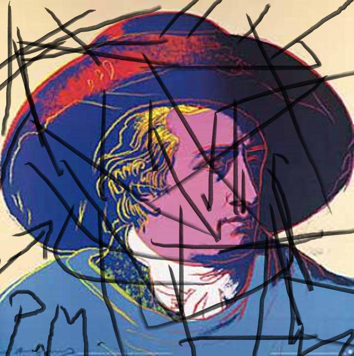 Pedro Meier – Andy Warhol »Goethe 1982«, Silkscreen – Intervention / Paraphrase – Artwork by Pedro Meier Swiss-German Multimedia Artist 2016 – DiaryArt – MailArt – DigitalArt – Artists' Books – Künstlerbuch– Bangkok MoMA – FLUXUS DADA – SIKART Zürich