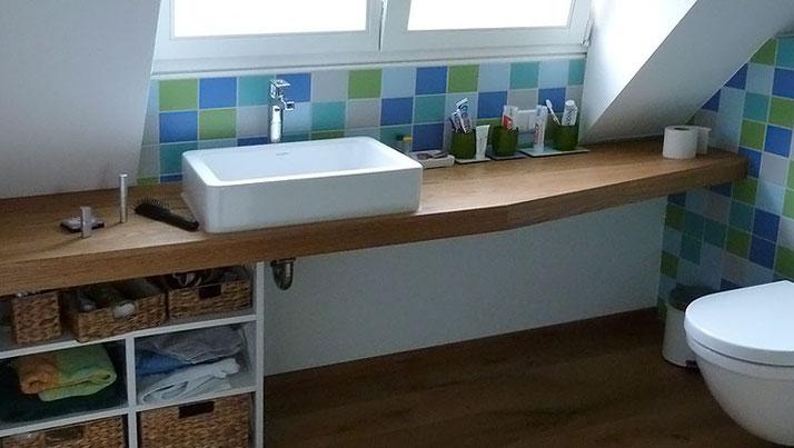 Waschtischplatte aus Eiche massiv geölt
