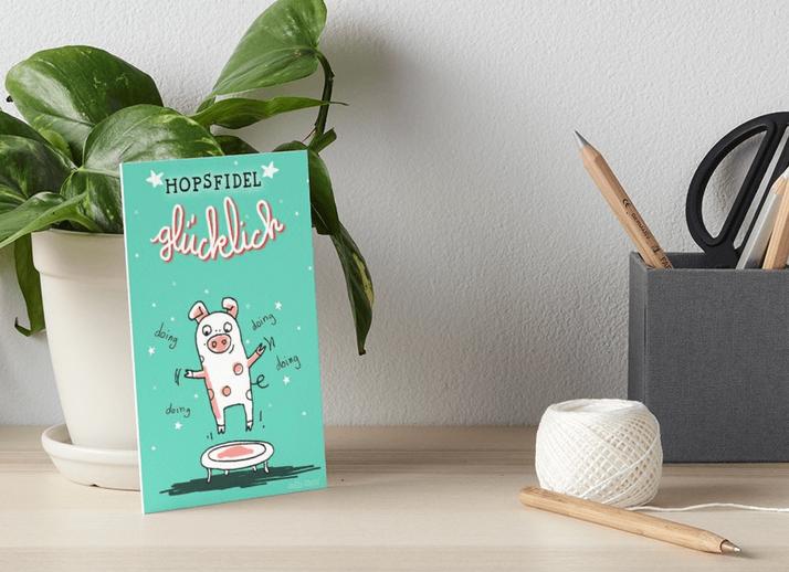 Trampolinschweinchen – Hopsfidel glücklich – Galeriedruck bei Redbubble – Illustration Judith Ganter - Illustriertes Kopfkino für Alltagsoptimisten - Hamburg Germany
