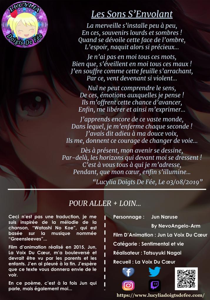 Poème les sons s'envolant écrit par Lucylia Doigts De Fée, recueil la voix du cœur, film d'animation jun la voix du cœur