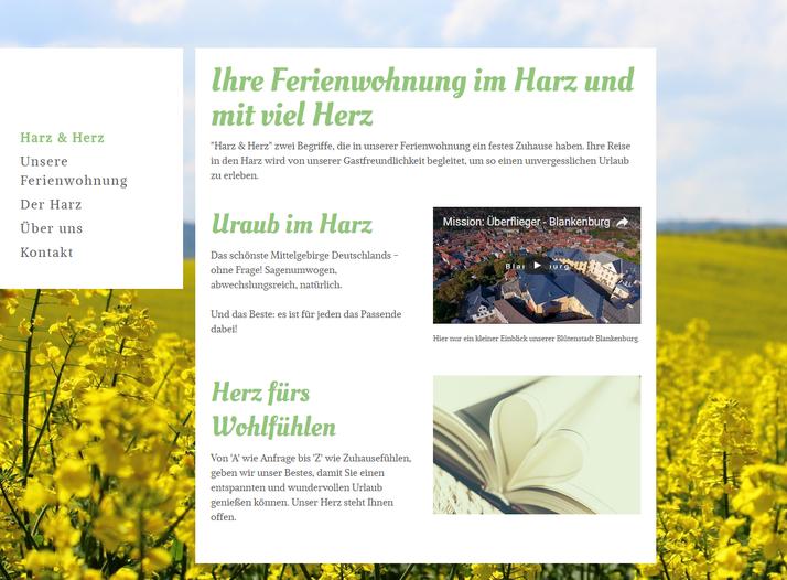 """Die Website für die Ferienwohnung """"Harz und Herz"""", die von mec MILLER erstellt wurde."""