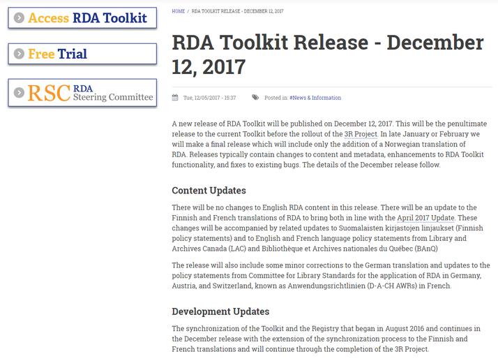Infos zum Dezember-Release auf der Website des RDA Toolkit