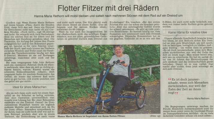 Ein Dreirad vom Dreirad-Zentrum Frankfurt begeistert!