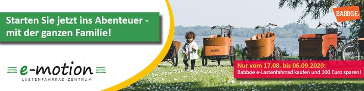 Starten Sie jetzt ins Lastenfahrrad-Abenteuer: Vom 17.08.-06.09.2020 100 Euro beim Kauf eines Babboe e-Lastenfahrrads