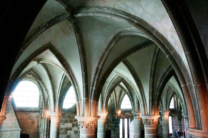 Ausschnitt ais der Abtei des Mont Saint Michel in der Normandie.