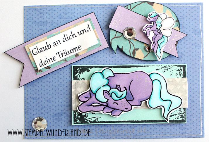 Digi STamp Pferd Pony Feenpony Pony mit Flügeln Träume von www.stempel-wunderland.de