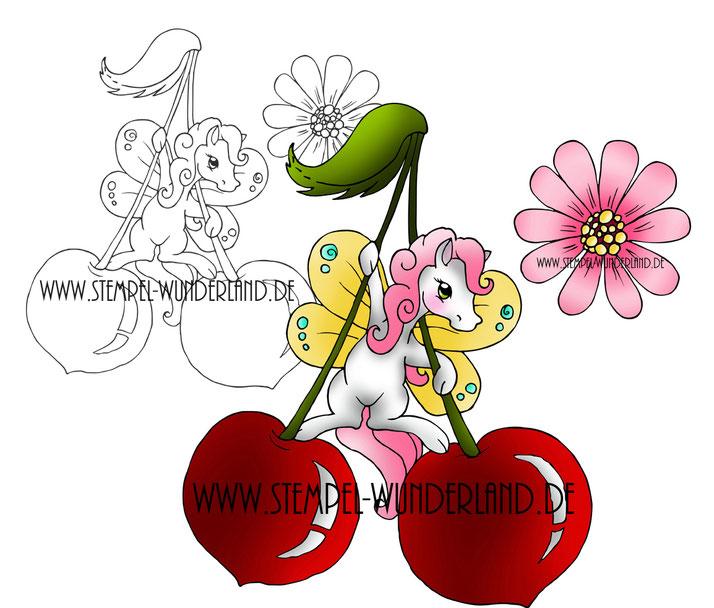 Digi Stamp Digitaler Stempel koloriertes Printable Datei Fee Pony Pferd Schmetterling Kirsche Kirschblüte Fabelwesen von www.stempel-wunderland.de