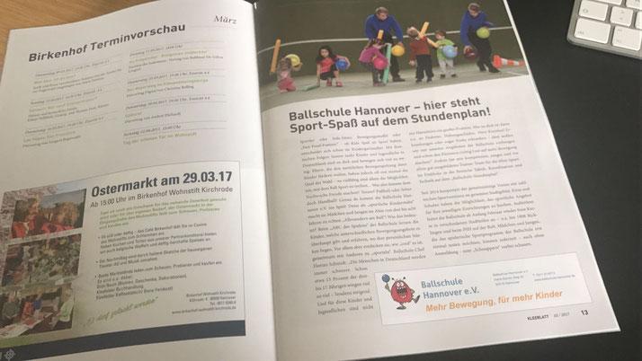 """Eine ganze Seite über die Ballschule Hannover im """"KLEEBLATT""""!"""