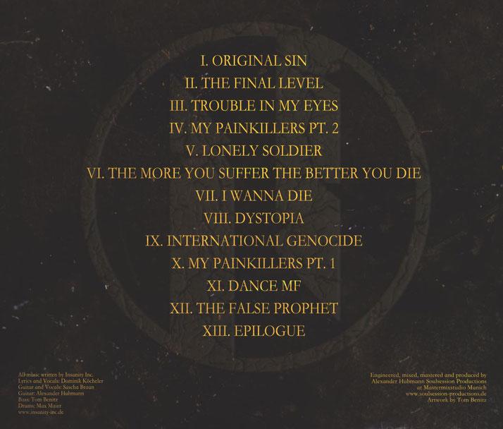 Insanity Inc. II Album - Lyrics - Coverart back