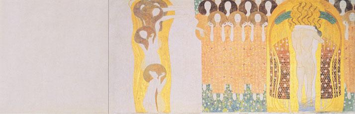 Gustav Klimt, « Hymne à la joie », in La Frise Beethoven, 1902. Source : Wikipedia.org / Domaine public.