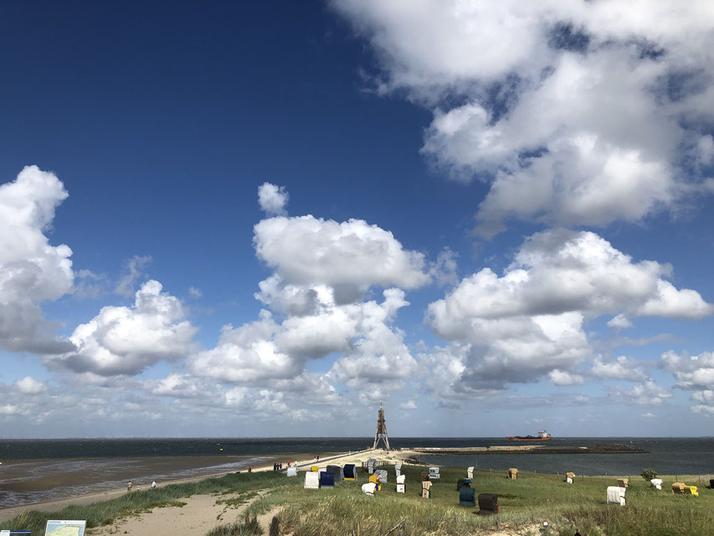 Die Kugelbake am 01. Juli 2019 bei West 7 und bestem Wetter
