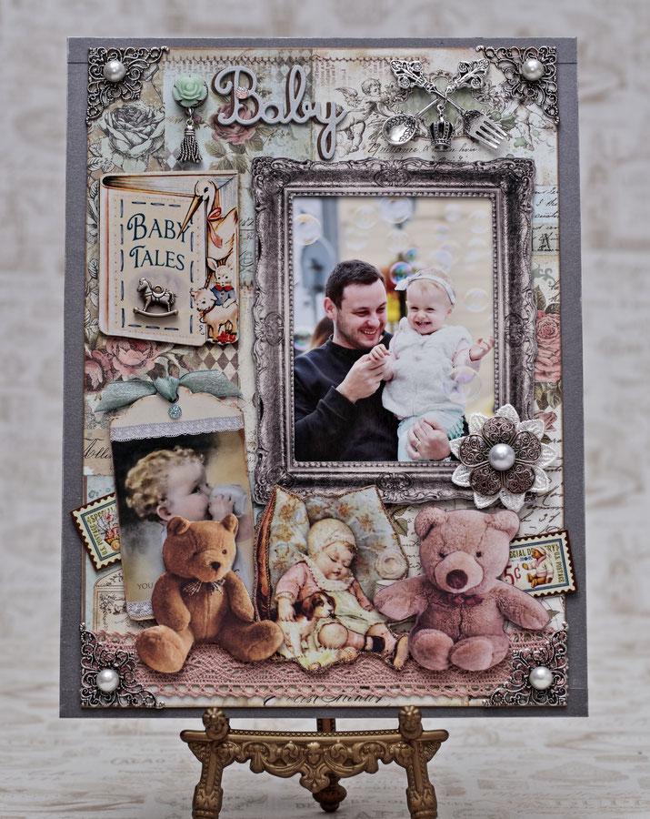 ★ホビーショーMasakoブース講座作品「My Baby」A4より大きいサイズ。写真はプラハにてMasako撮影、シャボン玉とBabyの素敵なシーンに出会いました(^^♪