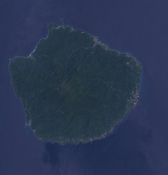 The island is a round shaped land of 504.88 km2 located in Kagoshima prefecture Source: Wikipedia