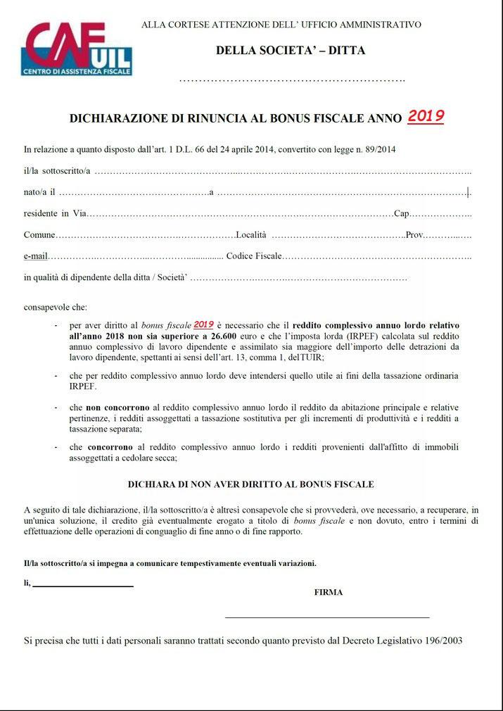 Modulo rinuncia bonus renzi anno 2017 uilm provincia di for Bonus fiscale