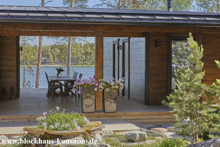 Dieses Blockhaus holte sich die Auszeichnung in Gold - Neubau,  Pultdachhaus  mit großzügiger Terrasse, Wohnen, Singlehaus, Villa, Chalet,  Barrierefreiheit - Saunaabteilung - Atelie - Gästehaus - Wellness - Attraktive Architektur - Traumhaus - Sonnenhaus