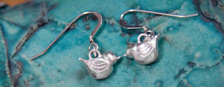 Emma Hedley silver bluebird earrings
