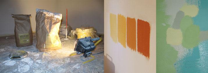 Kalkkaseinfarbe in Papiersäcken / Farbproben