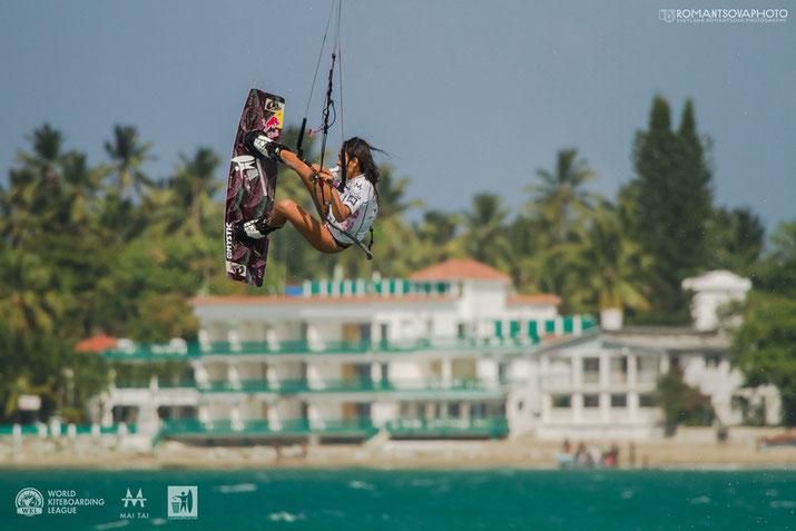 Bruna Kajiya kitesurfing at Cabarete World Kiteboarding League MaiTai event