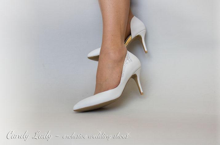 белые молочные свадебные туфли Киев Москва