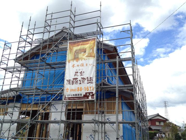 豊橋の建設現場に掲げる工事幕(垂れ幕)の事例です