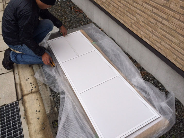 フローリング下地板を御支給いただい、豊橋の看板屋さんが看板に仕上げました