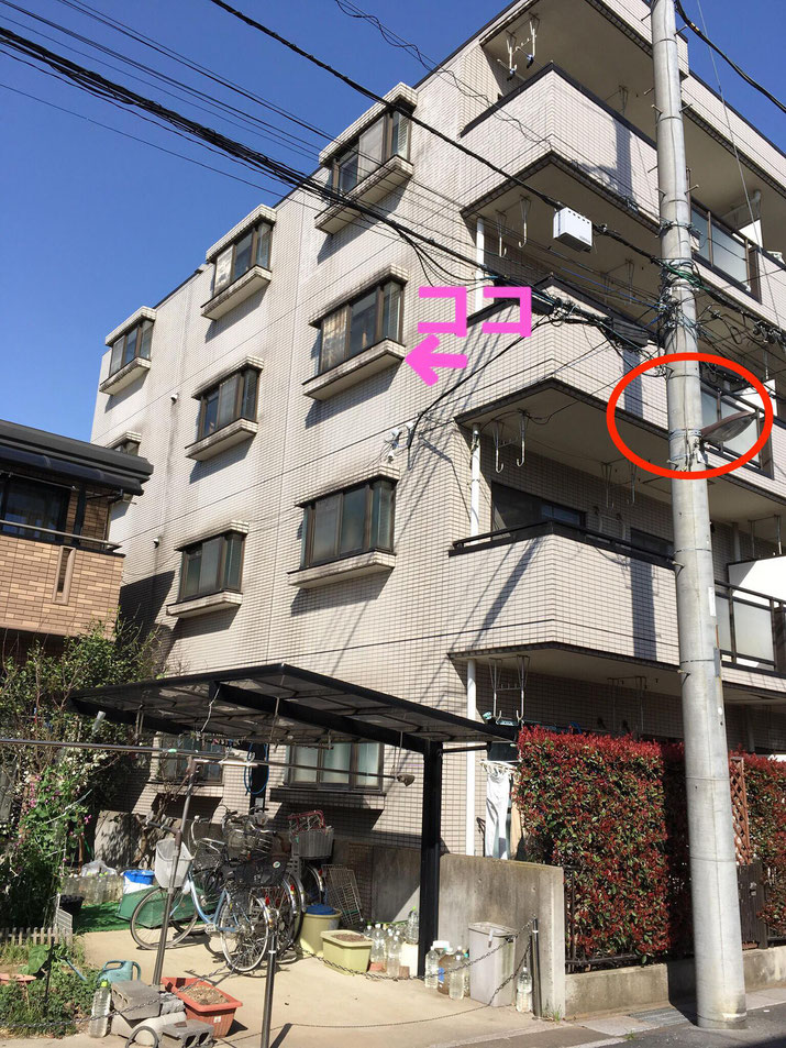 埼玉のエステサロンさんの横断幕を設置するマンションのベランダ