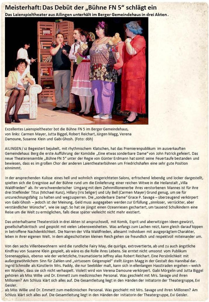 SZ-Bericht 28.3.2011 Eine etwas sonderbare Dame