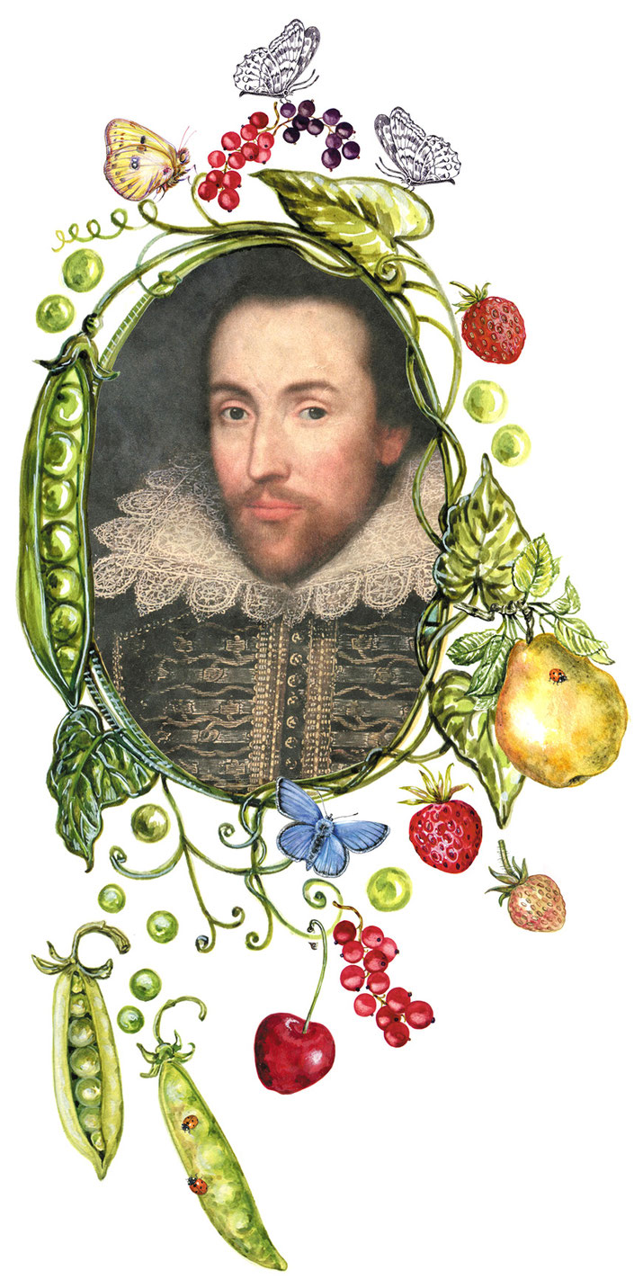 William Shakespeare im floralen Schmuckmedaillon, © Caroline Ronnefeldt