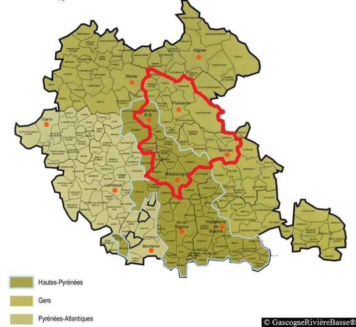Communes de la Rivière-Basse en Gascogne