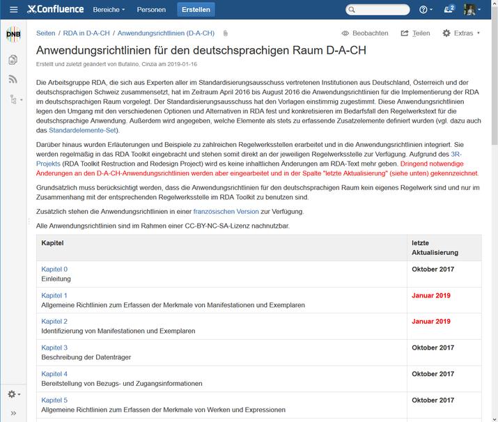 Aktueller Stand der D-A-CH AWR im RDA-Info-Wiki der DNB; die geänderten Dateien sind rot markiert