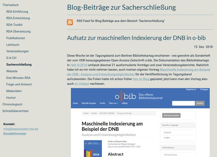 """Die neue Kategorie """"Sacherschließung"""" im Blog"""