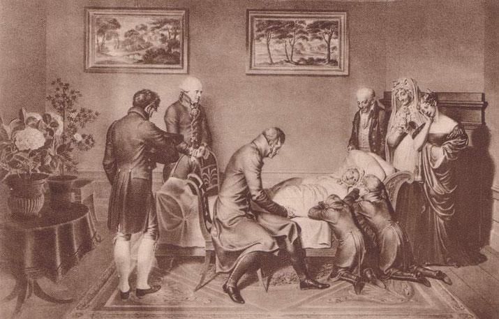 Zu den Vertrauten am Todeslager der Königin Luise 1810 in Hohenzieritz gehörte auch Karoline von Berg (rechts).