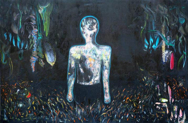 go off, 2017, oil on canvas, 150 x 246 cm