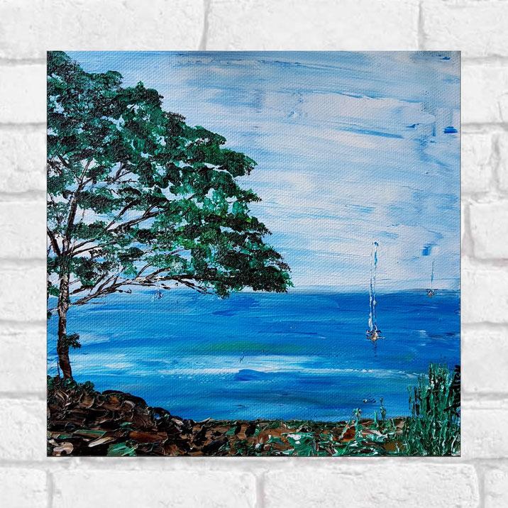 tableau-paysage-ocean-voilier-peinture-marine-artiste-peintre-royan-audrey-chal-petit-format-carré