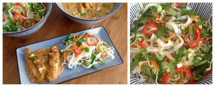 Thaise Noodle Salade met Thaise Pindakip.