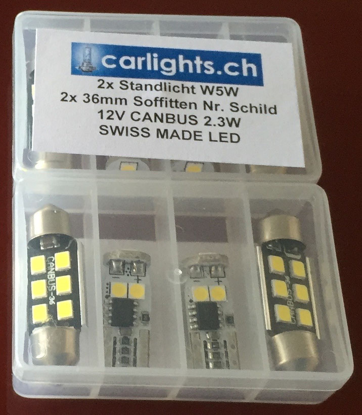 2x LED Standlicht W5W T10 canbus , 2x Soffitten 36mm C5W Swiss Made by www.carlights.ch 3 Jahre Garantie