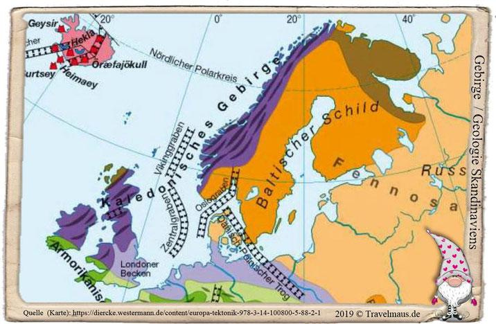 Gebirgezüge: Kaledonisches Gebirge & Baltischer Schild in Skandinavien
