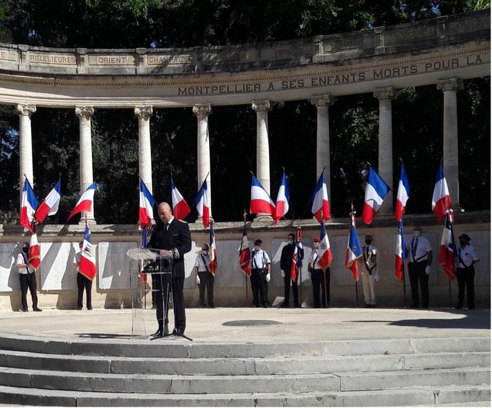 Allocution du préfet Hugues Moutouh, cérémonie de commémoration de la libération de Montpellier le 28 août 2021 anocr34.fr