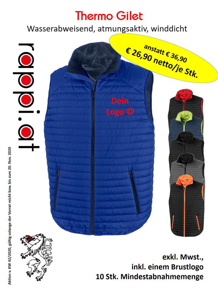 Thermo Gilet, besticken und bedrucken lassen, Steiermark, Logo Einstickung, Werbemittel, Arbeitsbekleidung
