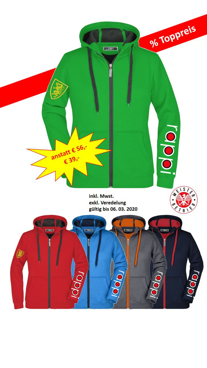 Sweater, Sweatjacken, besticken bedrucken lassen Steiermark, Firmenbekleidung, Vereinsbekleidung, bestickt, bedruckt, Logo Einstickung
