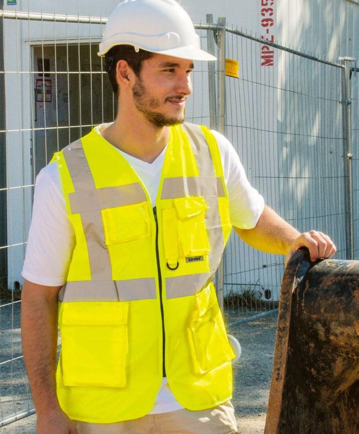 Multifunktionsweste, Warnweste, in vielen Farben, Sicherheitsbekleidung, besticken, bedrucken lassen, Arbeitsbekleidung, Berufskleidung, Steiermark,  EN ISO 20471